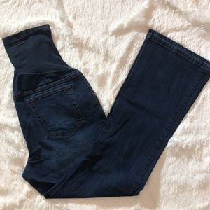 Petite Large Maternity Blue Jeans With Belly Band